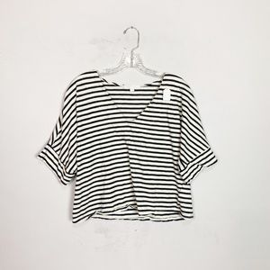 eri + ali anthro navy & white striped crop top M